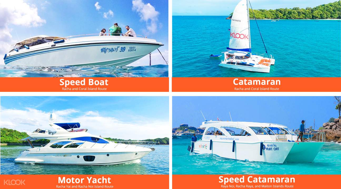 speed boat catamaran motor yacht at racha yai phuket coral island tour